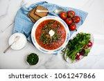 traditional soup borsh on...   Shutterstock . vector #1061247866