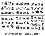 77 food and drink icons set for ... | Shutterstock .eps vector #106125854