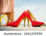 fashion and footwear. red high... | Shutterstock . vector #1061259590