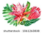 bouquet of flowers   leaves of... | Shutterstock . vector #1061263838