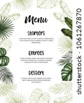 tropical wedding menu.... | Shutterstock .eps vector #1061267870