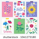 six summer cards with lavender  ... | Shutterstock .eps vector #1061273180