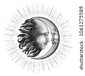 face in sun and moon with... | Shutterstock .eps vector #1061275589