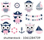 cute vector pirate sailor owl... | Shutterstock .eps vector #1061284739