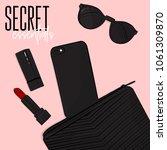secret essentials flatlay ...   Shutterstock .eps vector #1061309870