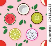 fruit fabric pattern seamless... | Shutterstock .eps vector #1061312288