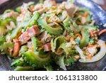 goya chanpuru is bitter melon...   Shutterstock . vector #1061313800
