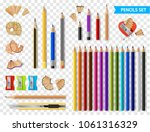 multicolored set of wooden... | Shutterstock .eps vector #1061316329