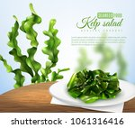 realistic sea weed salad on... | Shutterstock .eps vector #1061316416