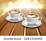 cups of latte and cappuccino... | Shutterstock .eps vector #1061316440