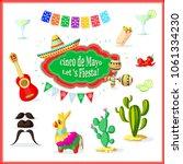 mexican party set . cinco de... | Shutterstock .eps vector #1061334230