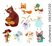 collection of cute cartoon... | Shutterstock .eps vector #1061341520