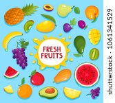 colorful cartoon fruit poster... | Shutterstock .eps vector #1061341529