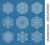 set of white snowflakes. fine... | Shutterstock . vector #1061342063