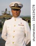 Navy Officer Smiling In Dress...