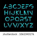 futuristic modern alphabet.... | Shutterstock .eps vector #1061343176