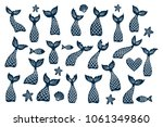 set of  mermaid's tail  fishes  ... | Shutterstock .eps vector #1061349860