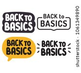 Back to basics. Badge, icon set. Vector illustrations on white background.