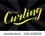 curling sport yellow lettering... | Shutterstock .eps vector #1061358320