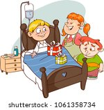 friends visiting sick child... | Shutterstock .eps vector #1061358734
