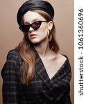 fashion portrait of beautiful... | Shutterstock . vector #1061360696