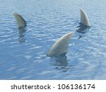 three sharks fin sticking out... | Shutterstock . vector #106136174