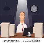office worker working on... | Shutterstock .eps vector #1061368556