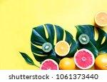 assortment tropical fruits and... | Shutterstock . vector #1061373440