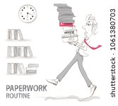 the clerk carries a bunch of...   Shutterstock .eps vector #1061380703