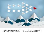 red paper aircraft leader ... | Shutterstock .eps vector #1061393894