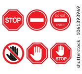 stop sign set  isolated on... | Shutterstock .eps vector #1061393969