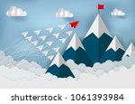 paper planes are competing to... | Shutterstock .eps vector #1061393984