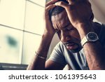 black guy stressting and... | Shutterstock . vector #1061395643