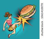 woman kicks burger  fastfood... | Shutterstock .eps vector #1061410070