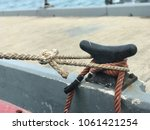 rope on a yacht with steel... | Shutterstock . vector #1061421254