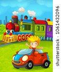 cartoon train scene with happy...   Shutterstock . vector #1061432096