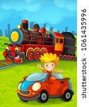 cartoon train scene with happy...   Shutterstock . vector #1061435996
