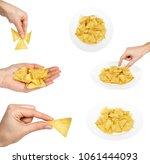 set of corn chips  nachos in... | Shutterstock . vector #1061444093