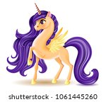 3d pony unicorn character with... | Shutterstock .eps vector #1061445260
