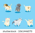Stock vector puppies and kittens vector illustration cartoon little cat and dog pet animals 1061446070