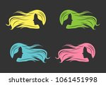 a sketch of a girl with long... | Shutterstock .eps vector #1061451998