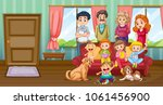 family having fun in livingroom ... | Shutterstock .eps vector #1061456900