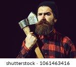 handsome man or lumberjack ... | Shutterstock . vector #1061463416