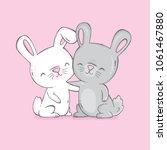 two cute bunnies hugging.... | Shutterstock .eps vector #1061467880