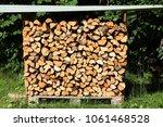 firewood outdoor storage  ... | Shutterstock . vector #1061468528