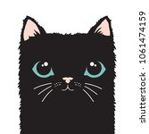 black cat cartoon face. vector... | Shutterstock .eps vector #1061474159