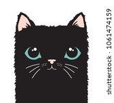 Stock vector black cat cartoon face vector illustration 1061474159