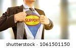 businessman in superhero... | Shutterstock . vector #1061501150