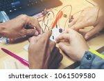 hands group work shop...   Shutterstock . vector #1061509580