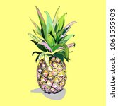 large ripe pineapple on a... | Shutterstock . vector #1061555903